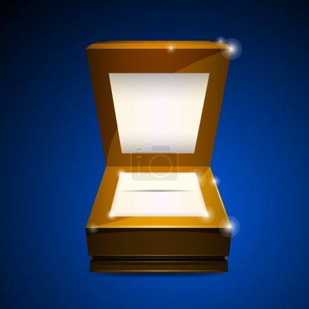 Open wooden box. Vector illustration.