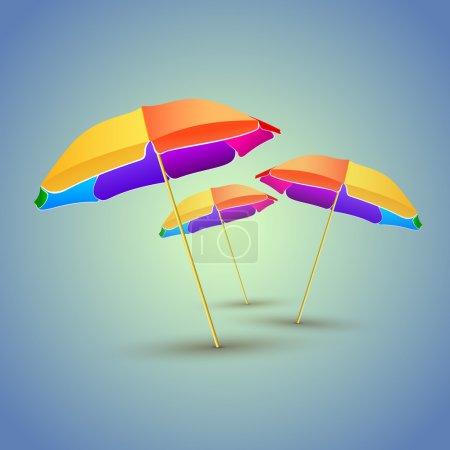 Foto de Ilustración vectorial de sombrillas de playa coloridas - Imagen libre de derechos
