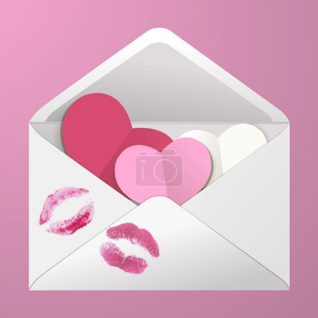 Open envelope with hearts and lipstick kisses.