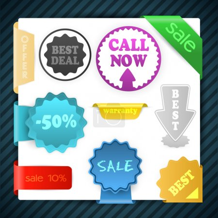 Set of vector sale signs, labels, badges, stickers