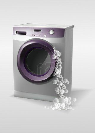 Illustration pour Machine à laver avec bulles - image libre de droit