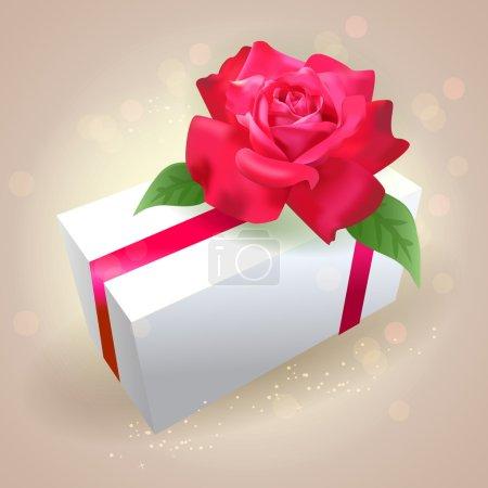 Illustration pour Coffret cadeau avec rose - image libre de droit