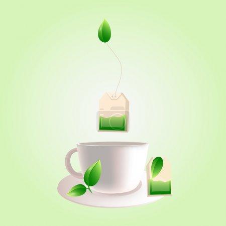Vector cup of green tea
