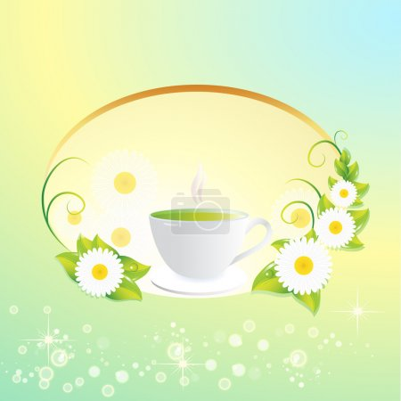 Vector background with tea cup.
