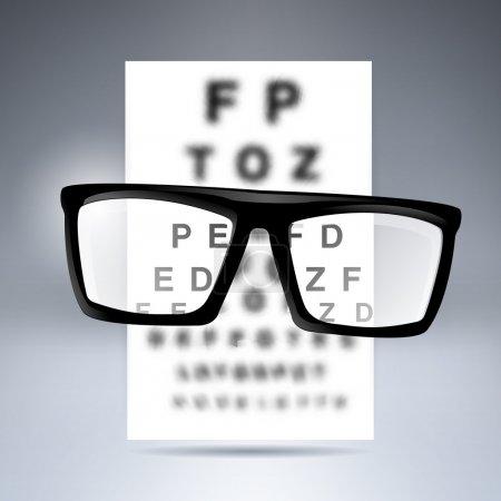 Photo pour Alphabet test vectoriel avec lunettes . - image libre de droit