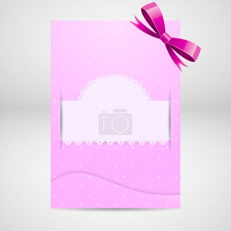 Pink greeting card with bow.