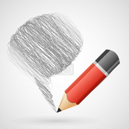 Speech bubble with pencil.