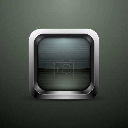 Rounded square button. Vector illustration.