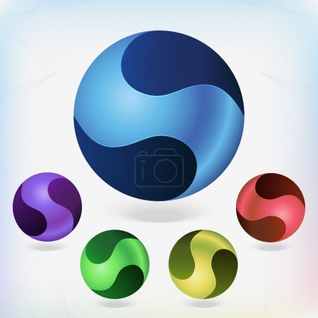 Set of colorful balls on white background. Vector illustration