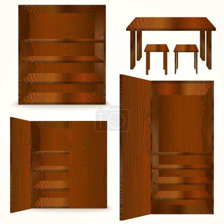 Illustration pour Ensemble de meubles en bois naturel. Illustration vectorielle - image libre de droit