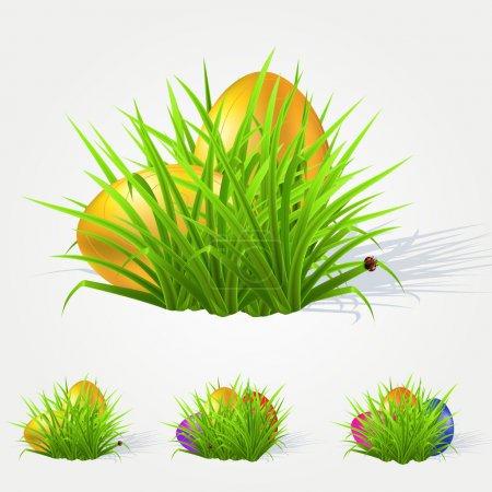 Illustration pour Œufs de Pâques peints couchés dans l'herbe. Illustration vectorielle - image libre de droit