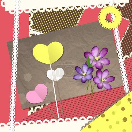 Illustration pour Éléments de scrapbooking rétro, carte Valentine. Illustration vectorielle - image libre de droit