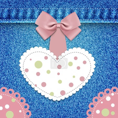 Heart with lace on denim background. Vector