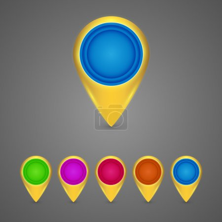 Set of round blue map pointers. Vector illustration