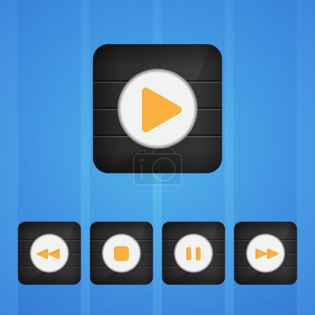 Vector set of player buttons