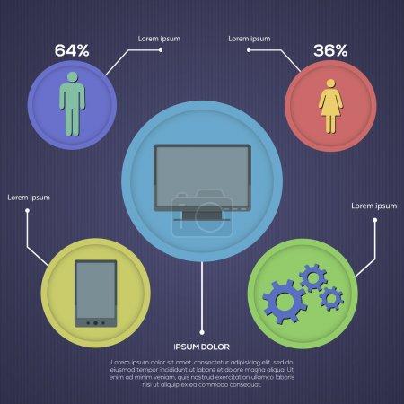 Illustration pour Jeu d'infographie de réseau social, design de style rétro. Illustration vectorielle - image libre de droit