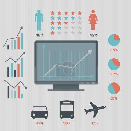 Social network infographics set, retro style design. Vector illustration