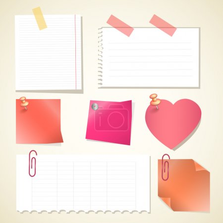 Vector illustration. Push pin collection with set note papers