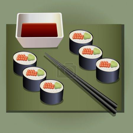 Illustration pour Ensemble japonais de rouleaux alimentaires. Illustration vectorielle - image libre de droit
