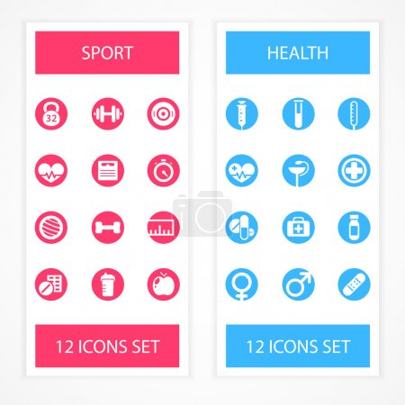 Basic - Health and Fitness icons. Vector illustration