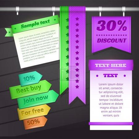 Web discount banner or label. Vector illustration