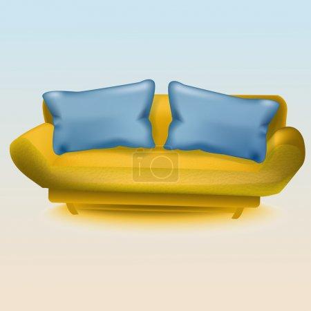 Gelbes Sofa. Vektorillustration