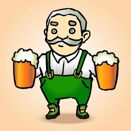 Cartoon oktoberfest man with beer. Vector illustration