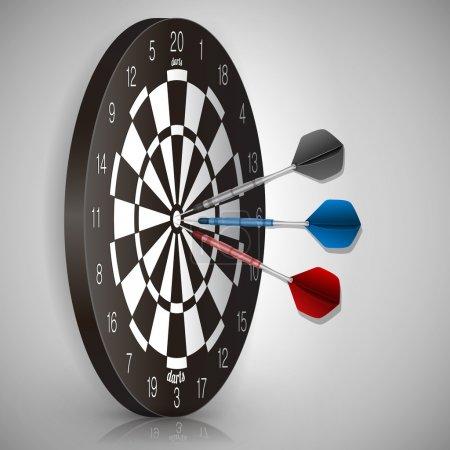 Illustration pour Fléchettes colorées frappant une cible. Concept de réussite. Illustration vectorielle - image libre de droit