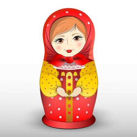 Poupée matryoschka traditionnelle, illustration vectorielle