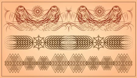 Girl with long hair. abstract vector patterns,  vector illustration