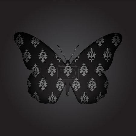 Greeting card with paper black butterfly - vector