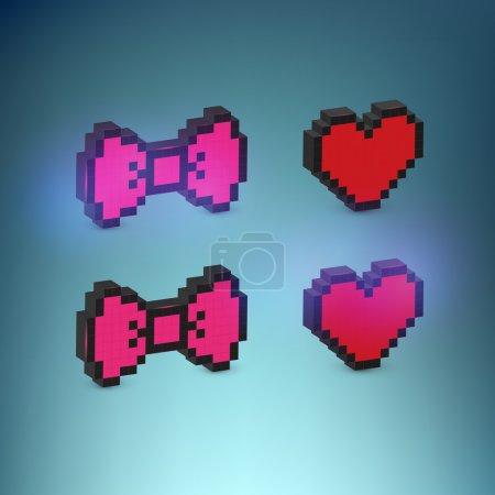 Herz und Bogen, Vektorillustration