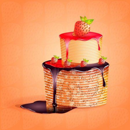 Illustration pour Illustration vectorielle d'un gâteau aux fraises - image libre de droit