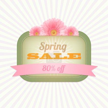 Vintage card - Spring Sale. Vector illustration