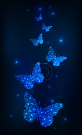 Abstract background with glowing butterflies. Vector illustration