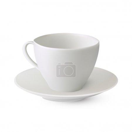 Illustration pour Une tasse blanche sur une soucoupe. Illustration vectorielle - image libre de droit
