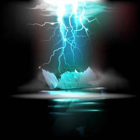 Lightning in the night. Vector illustration