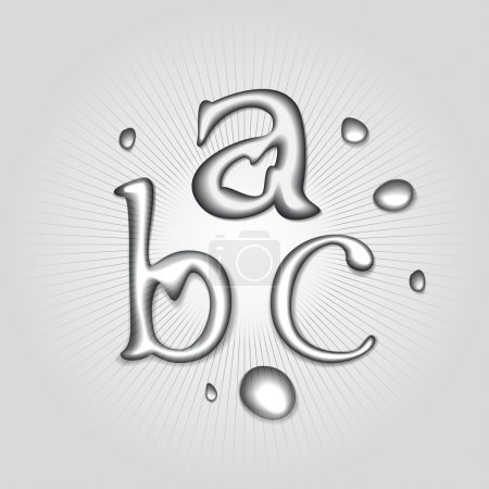 Illustration for Vector water letters A, B, C. - Royalty Free Image
