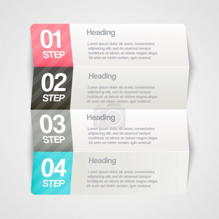 Illustration for Vector paper progress steps for tutorial - Royalty Free Image