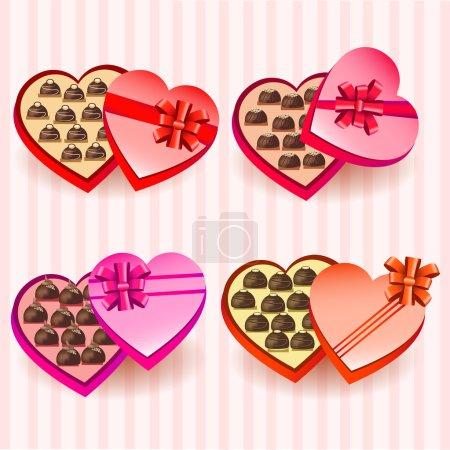 Illustration pour Ensemble de boîtes de chocolats valentine coeur - image libre de droit