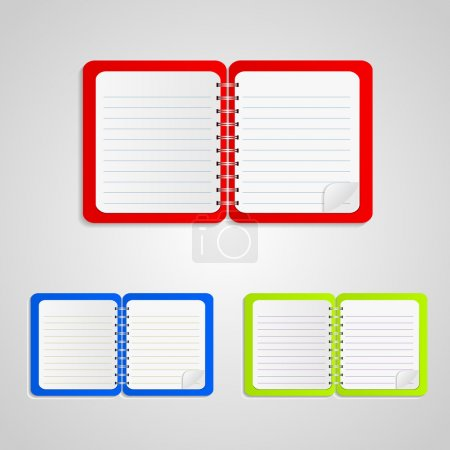 Colored notebook set,  vector illustration
