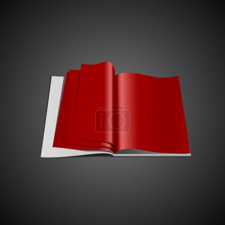 Red opened book,  vector illustration
