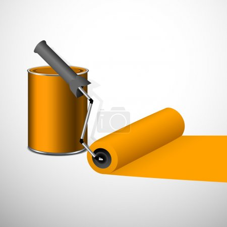 Paint can with a roller