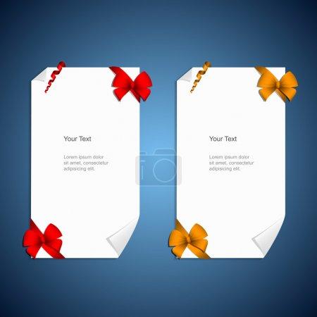 Illustration pour Billets de cartes avec noeuds cadeaux avec rubans - image libre de droit