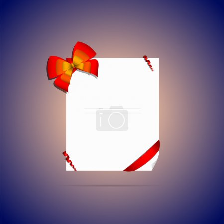 Illustration for Card note with red gift bow with ribbons - Royalty Free Image