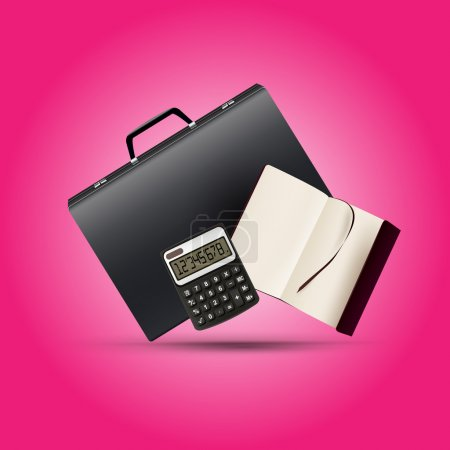 A briefcase, notebook and calculator