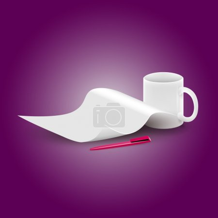 Vector piece of paper and a cup