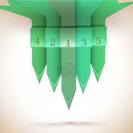 Illustration pour Flèches numérotées vertes, illustration vectorielle - image libre de droit