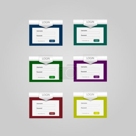 Set of vector login forms
