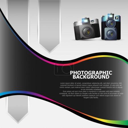 Illustration pour Fond vectoriel avec les caméras et place pour le texte - image libre de droit